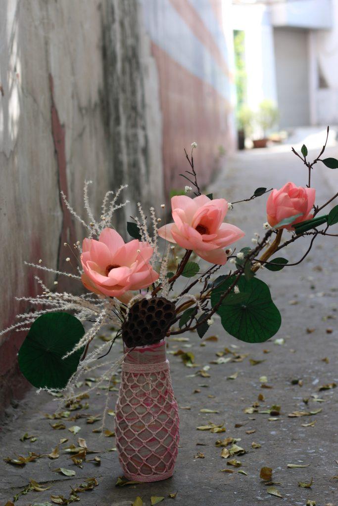 Bình Hoa sen khô màu hồng